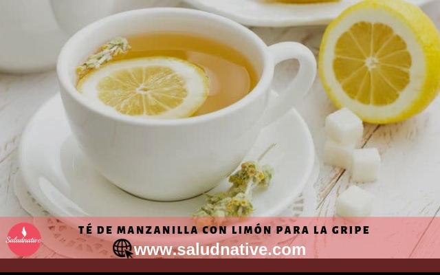 Té de manzanilla con limón para curar la gripe