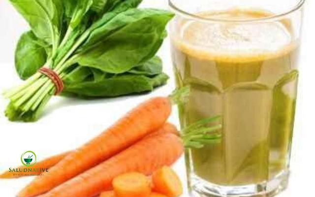 espinaca y zanahoria para hepatitis